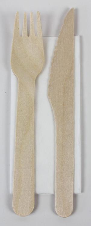 Korgboet bestickset engångs trä miljövänlig