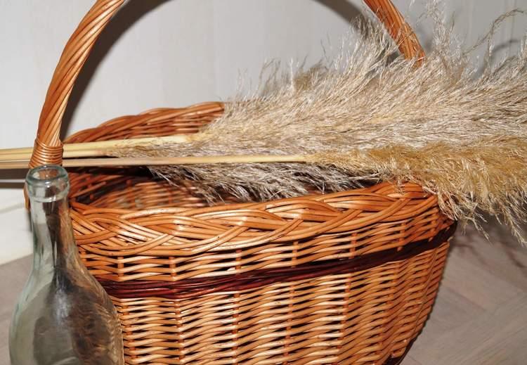 korgboet flätad pilkorg med handtag svampkorg picknick