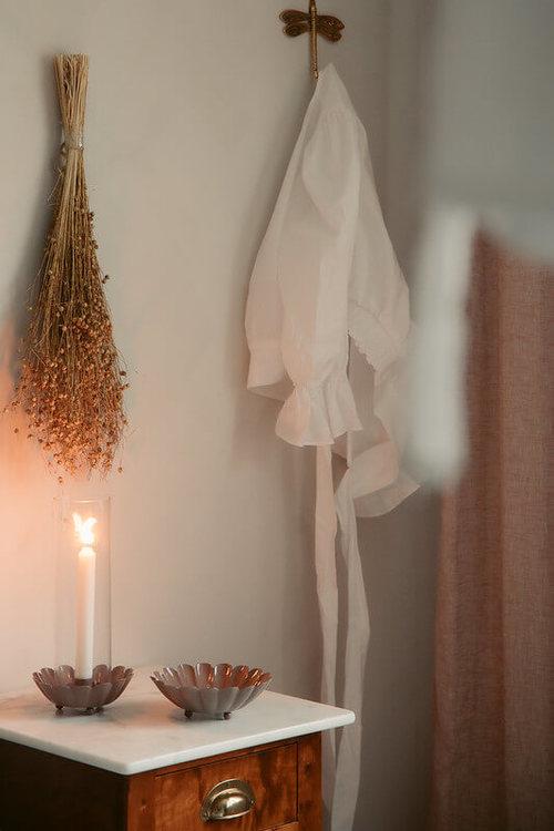 Strömshaga ljuslykta rosa ingrid glascylinder miljö