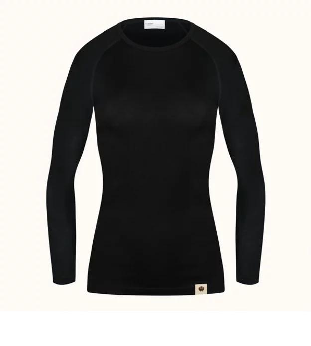 Långärmad tröja bas dam Svart, Blå i 100% Merinoull från Ullhuset-Sweden-