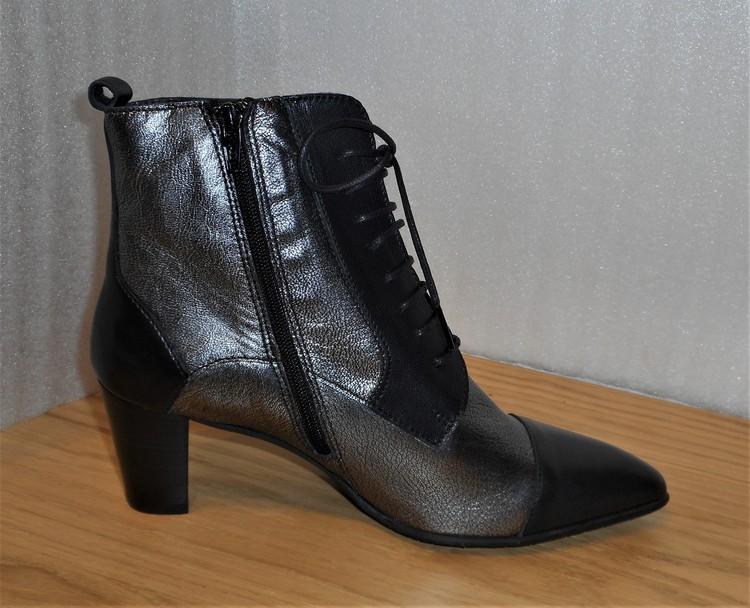 2-färgad boots med blixtlås & snörning fabrikat Fidji