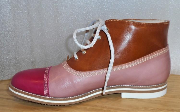 Snörkänga i rosa/brun kombination - fabrikat Amberone