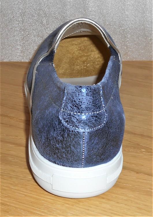 Blå loafer i skinn med glimmereffekt - Amberone