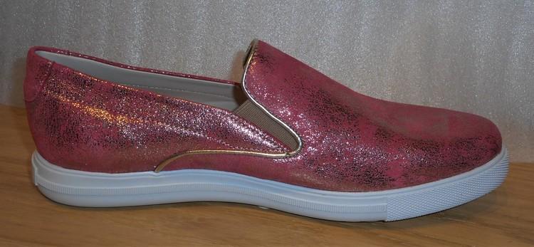 Korallrosa loafer i skinn med glimmereffekt - Amberone