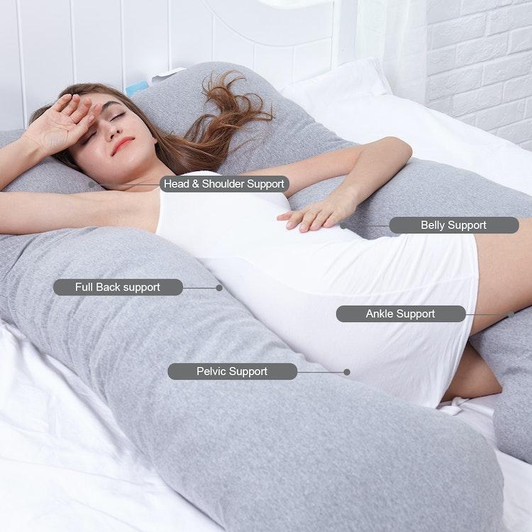 Gravidkudde/Kroppskudde - U-formad - 80x140 - Jersey Bomull - Hålfiber - 2500g - Grå