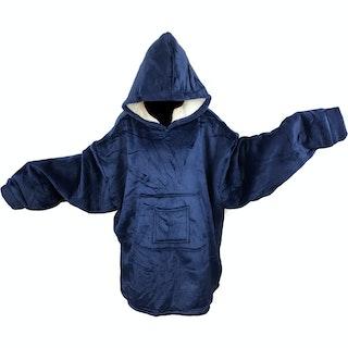 Stor Hoodie Filt - Minky & Sherpa - Vuxen - One size - Navyblå