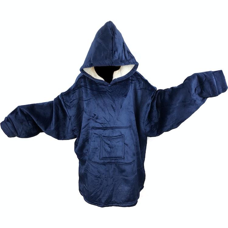 Snug Rug / Stor Hoodie Filt - Minky & Sherpa - Vuxen - One size - Navyblå