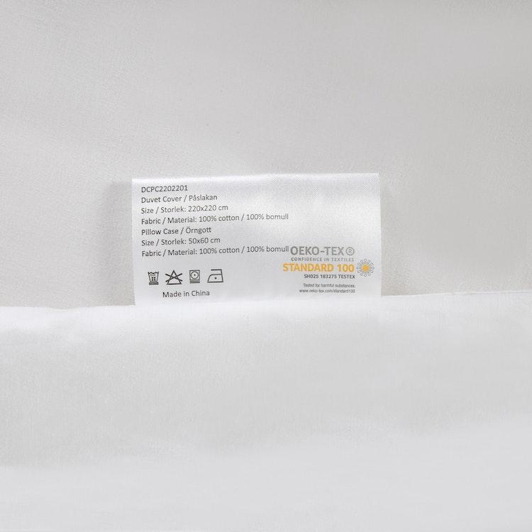 Exklusiva Påslakan & Örngott (Påslakanset) för Dubbeltäcke - 220x220 cm/50x60 cm - 100% Bomull - 300TC - Vit