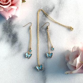Ljusblå Set Fjärilar
