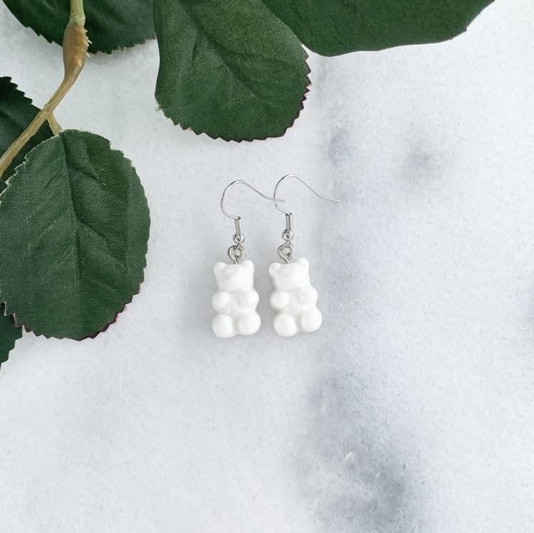 Vita Gummibjörnar Örhängen