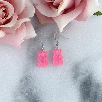 Neon-rosa Gummibjörn Örhänge