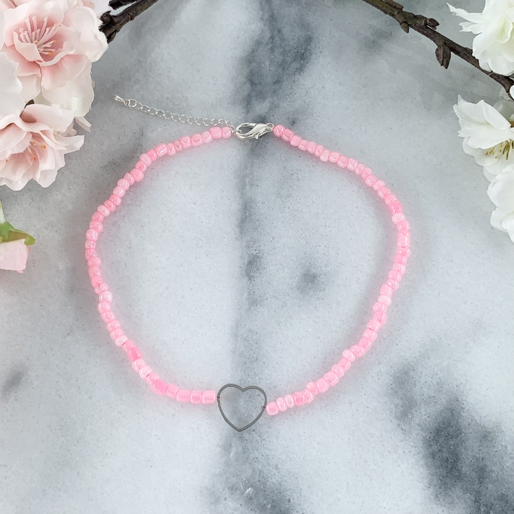 Rosa Halsband Hjärta