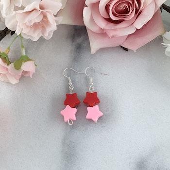 Rosa/Röd stjärna örhänge