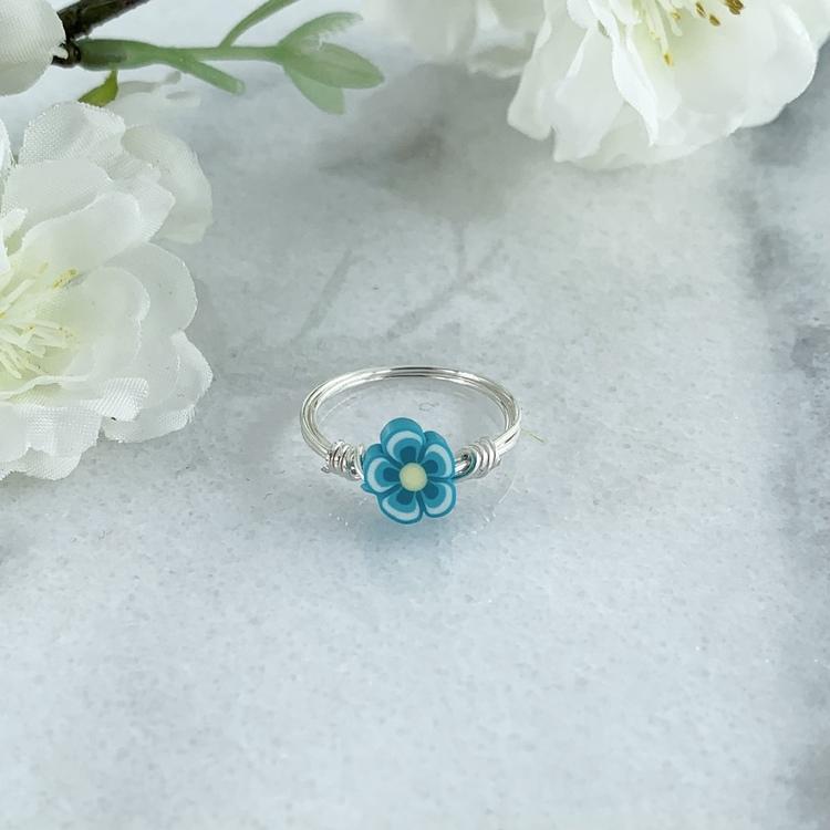 Handgjord Ring Blomma Blå