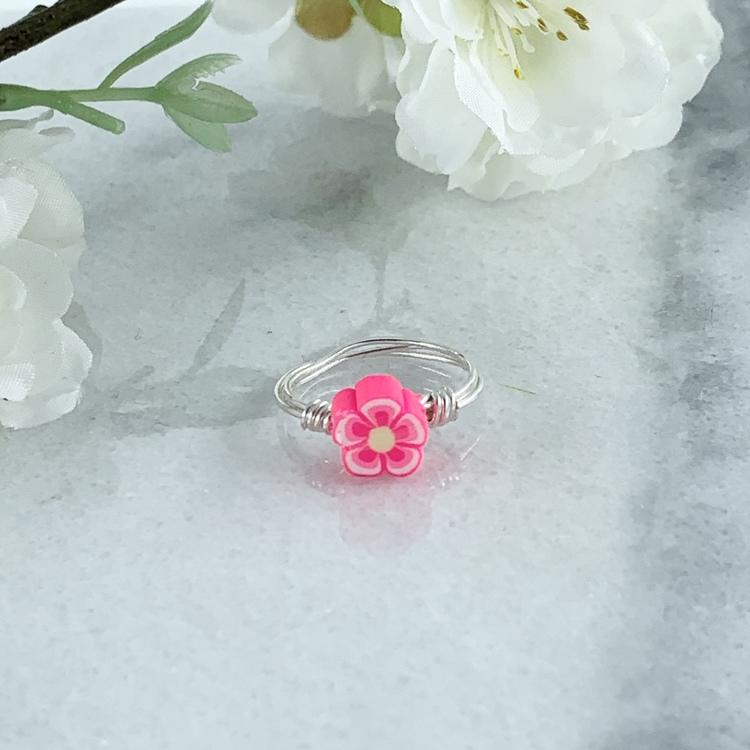 Rosa Blomma Ring Handgjord