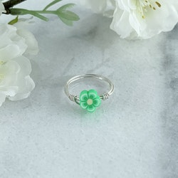 Grön Blomma Handgjord ring