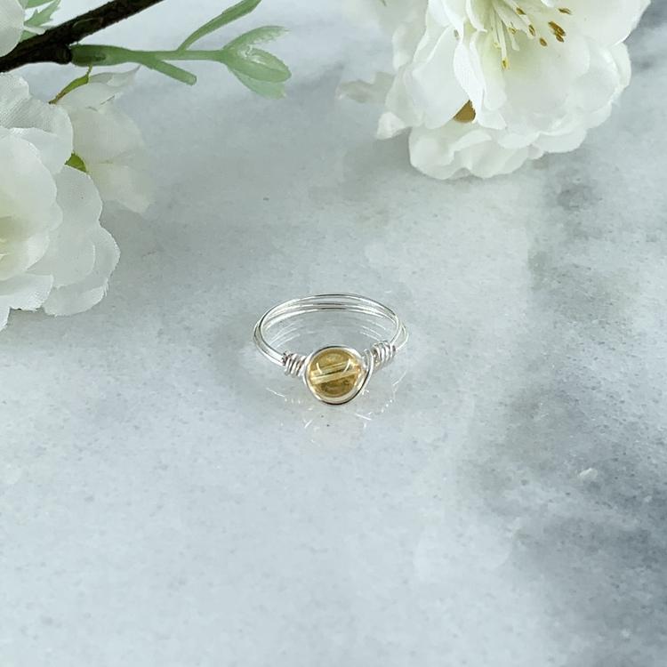 Citrin Ring Handgjord