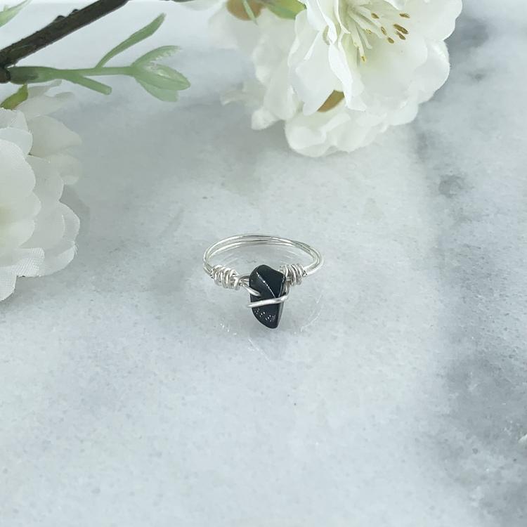 Obsidian Ring Handgjord