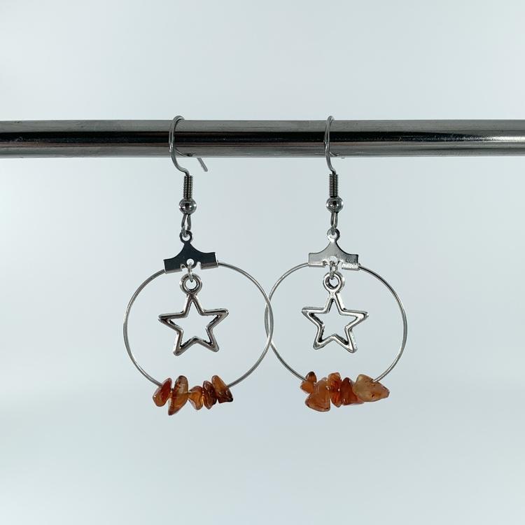 Handgjorda kristall-örhängen stjärna