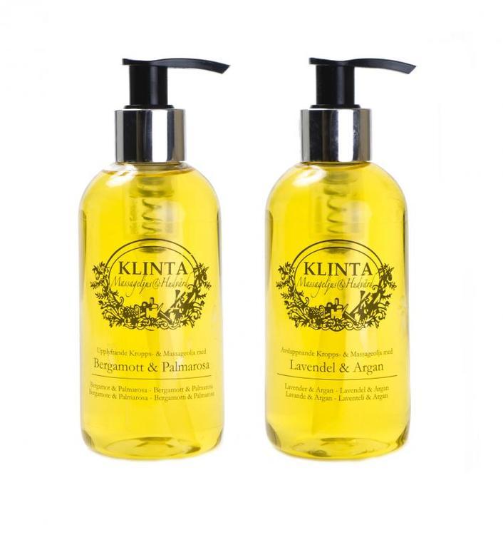 Kropps o Massage olja från Klinta, lavendel och arganolja,  aromterapi