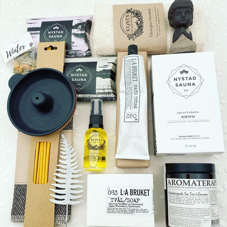 Spa o Bastu Box Lyx, högkvalitativa svenska hudvårdsprodukter, prisvärda spa-produkter