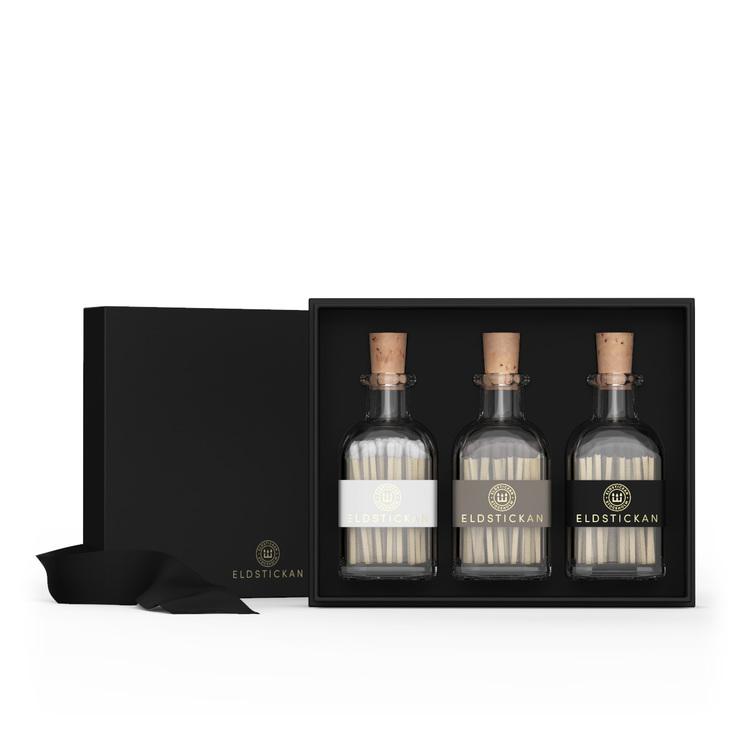 3-Pack Eldstickan Tändstickor i Presentförpackning, svensk, snygg inredningsdetalj i ditt hem