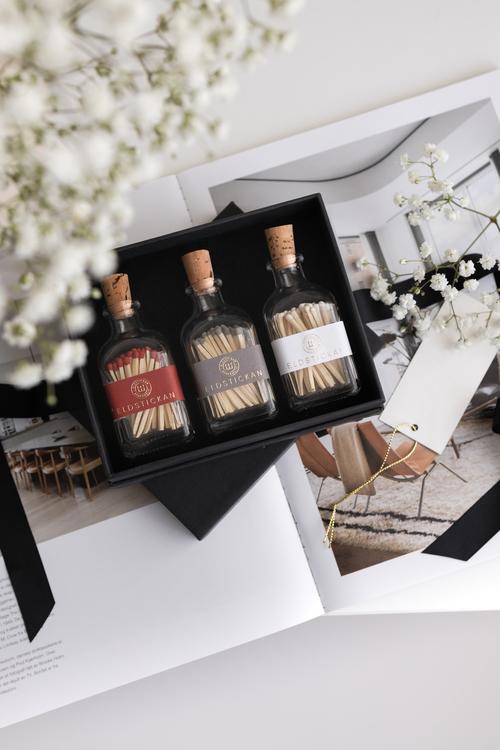3-Pack Eldstickan Tändstickor i Presentförpackning, perfekt och unik gåva