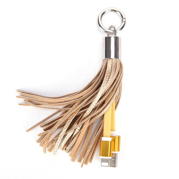 Nyckelring med laddsladd Guld