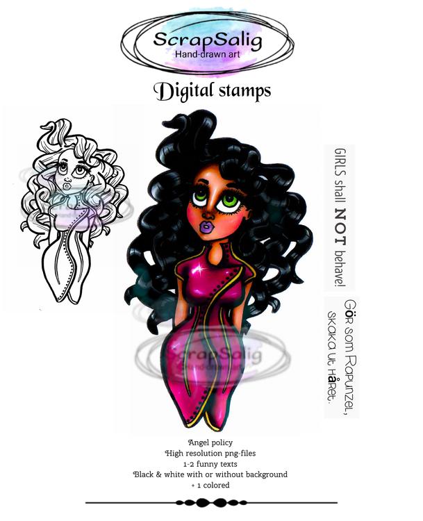 Digitala Stämplar - Curly Carla, helt set