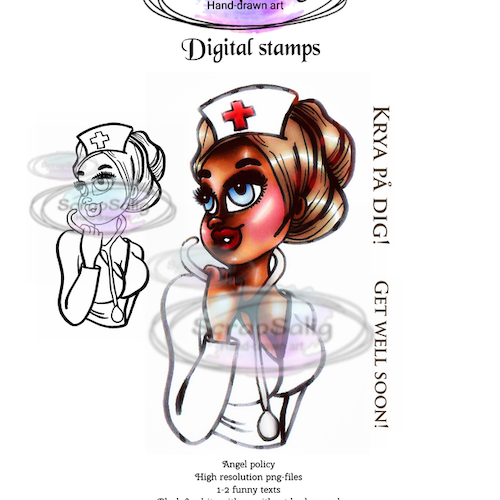 Digitala Stämplar - Super nurse Nora, helt set