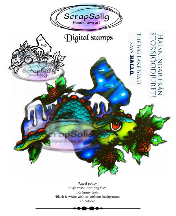 Digitala Stämplar - The Great Lake beast, helt set