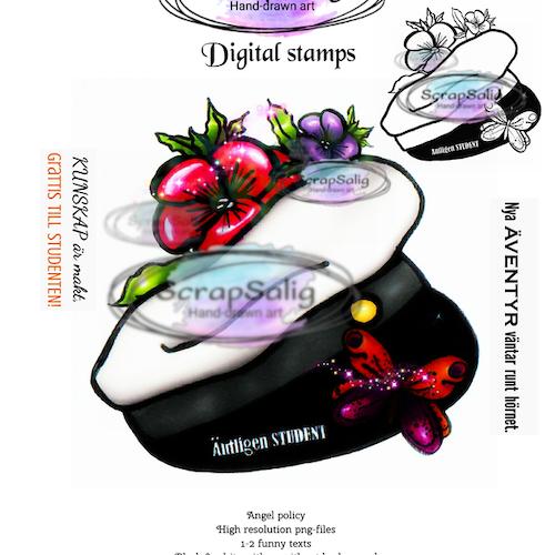 Digitala Stämplar - Blommig Studentmössa, helt set