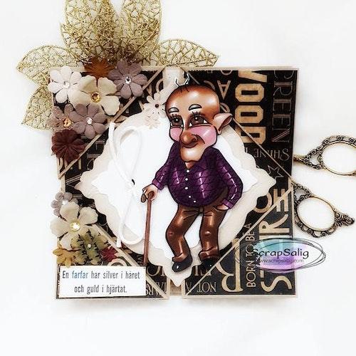 Handgjort kort till farfar - En farfar har silver i håret och guld i hjärtat