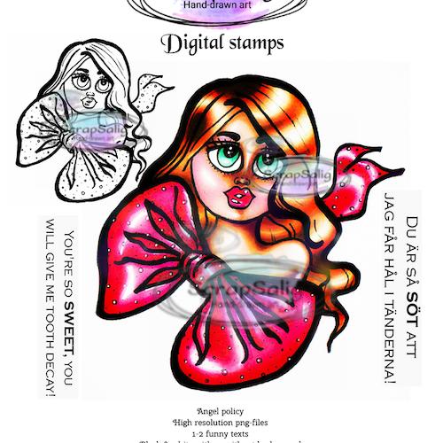 Digitala Stämplar - Bianca in a bow, helt set