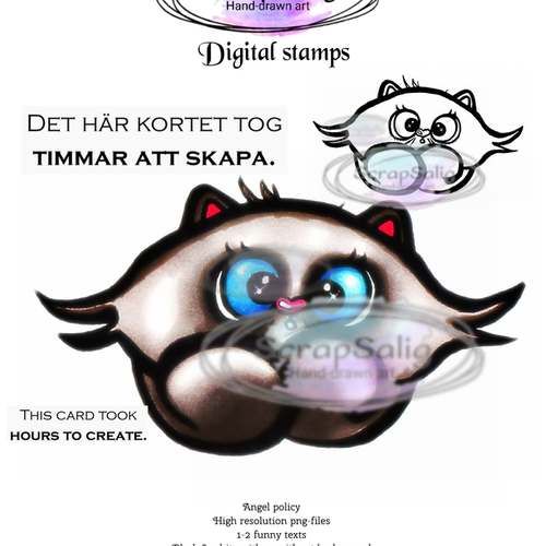Digitala Stämplar - Crazy Cat, helt set