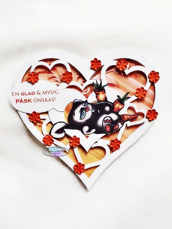 Handgjort påskkort - En glad och mysig påsk önskas, hjärtformat