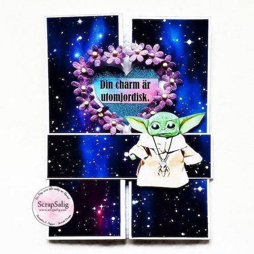 Handgjort kort - Din charm är utomjordisk, inspirerat av The mandalorian