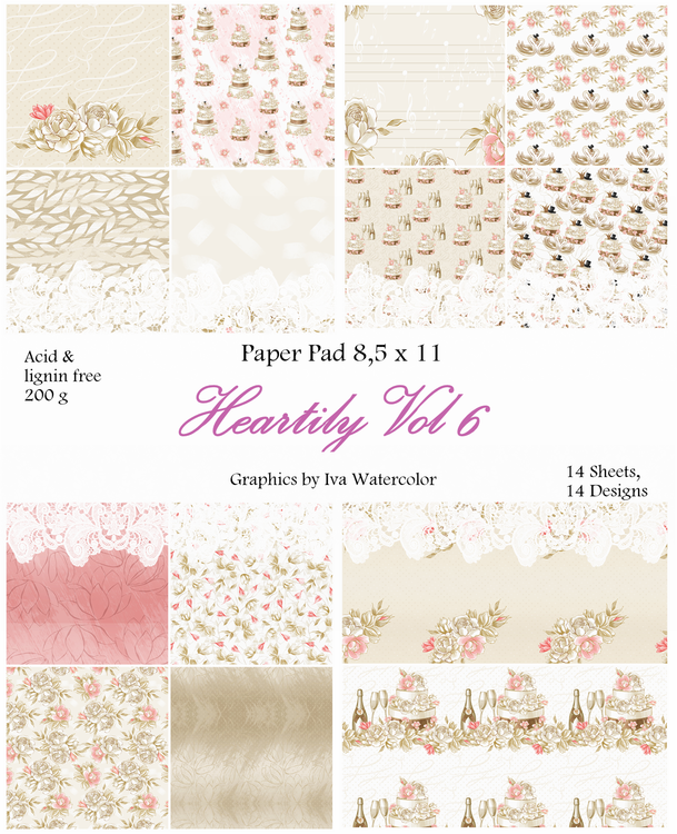 Paper Pad - Heartily Vol 6, 14 stycken designpapper