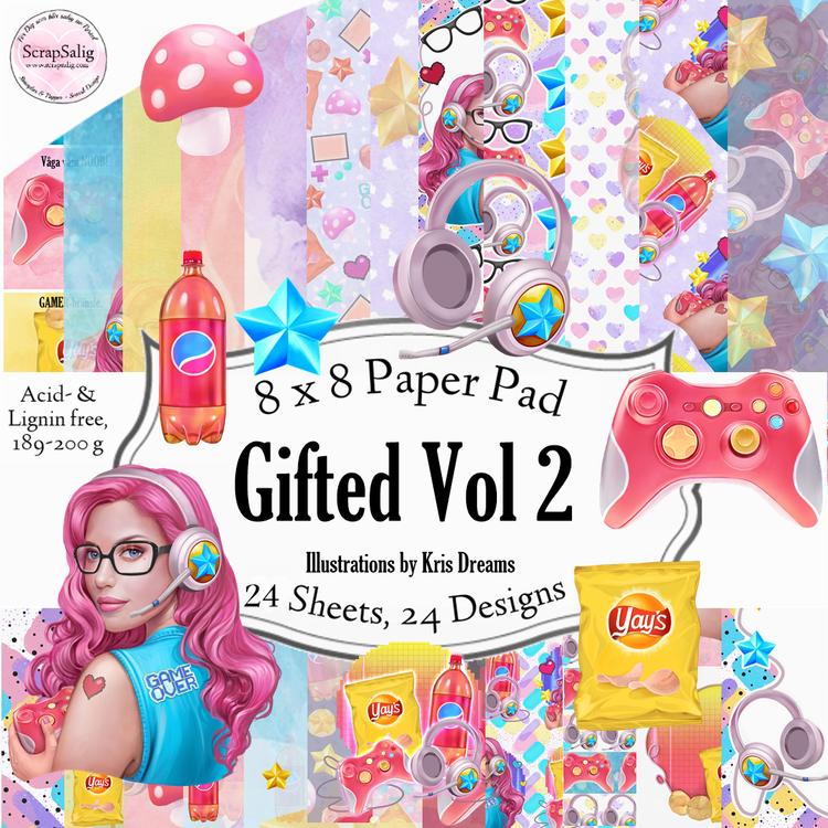 Paper Pad - Gifted Vol 2, 24 stycken designpapper