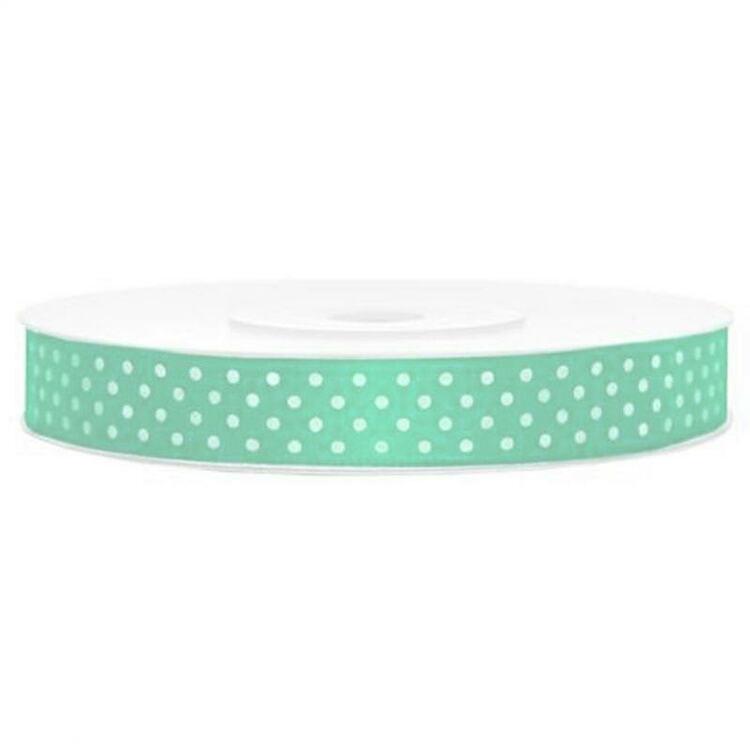 Satinband - Mintgrönt med vita prickar, 2 meter, bredd 1,2 cm