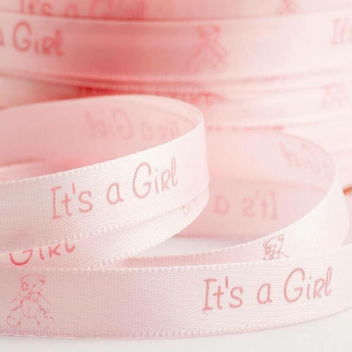 Satinband -  It's a girl, rosa, 2 meter, bredd 1 cm