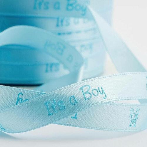 Satinband - It's a boy, 2 meter, bredd 1 cm