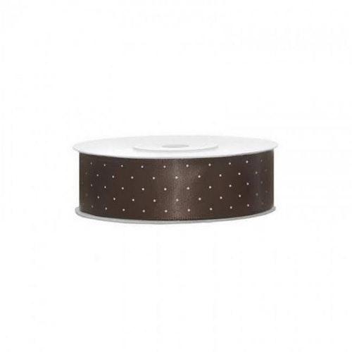 Satinband - Brunt med vita prickar, 2 meter, bredd 2,5 cm