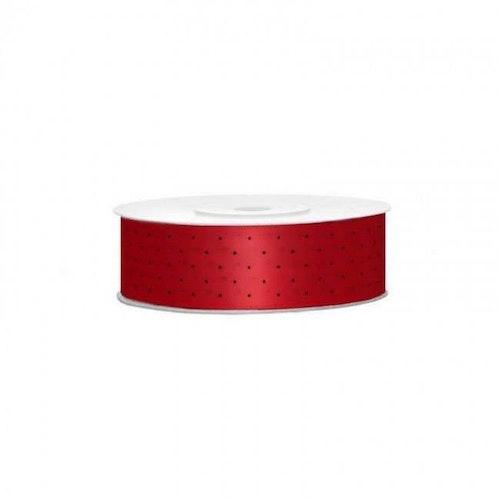 Satinband - Rött med svarta prickar, 2 meter långt, bredd 2,5 cm