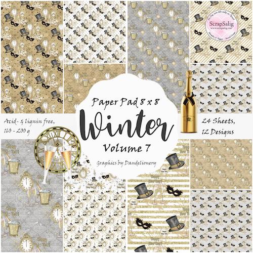 Paper Pad - Winter vol 7, 24 stycken designpapper, Nyårstema
