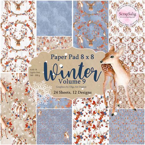 Paper Pad - Winter Vol 9, 24 stycken designpapper