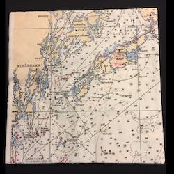 Servetter med sjökortsmotiv