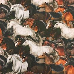 Tunt bomullstyg - Hästar