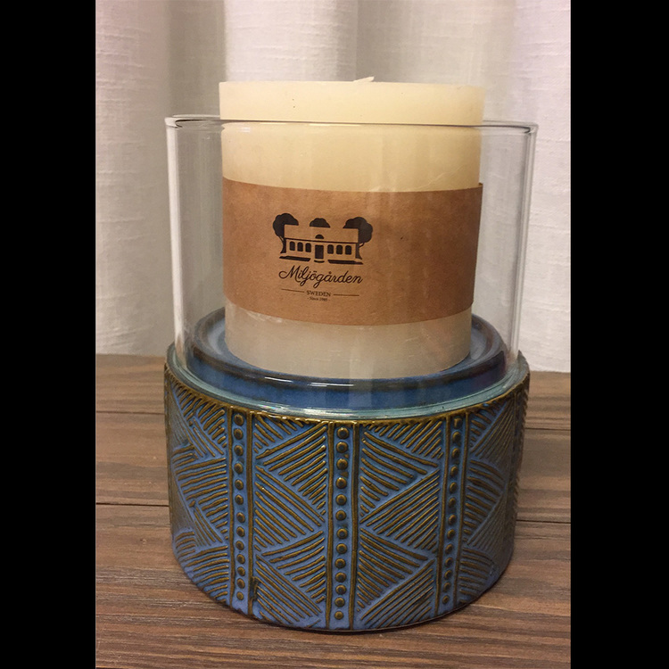 Ljuslykta i keramik/glas
