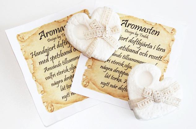 Handgjord Doftsten/Aromasten Romantiskt Hjärta Shabby Chic (Design by Trolsk)